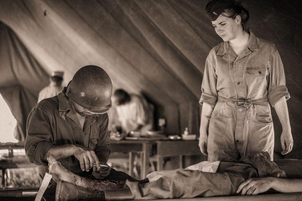 Reconstitution d'un hôpital de campagne américain de 1944