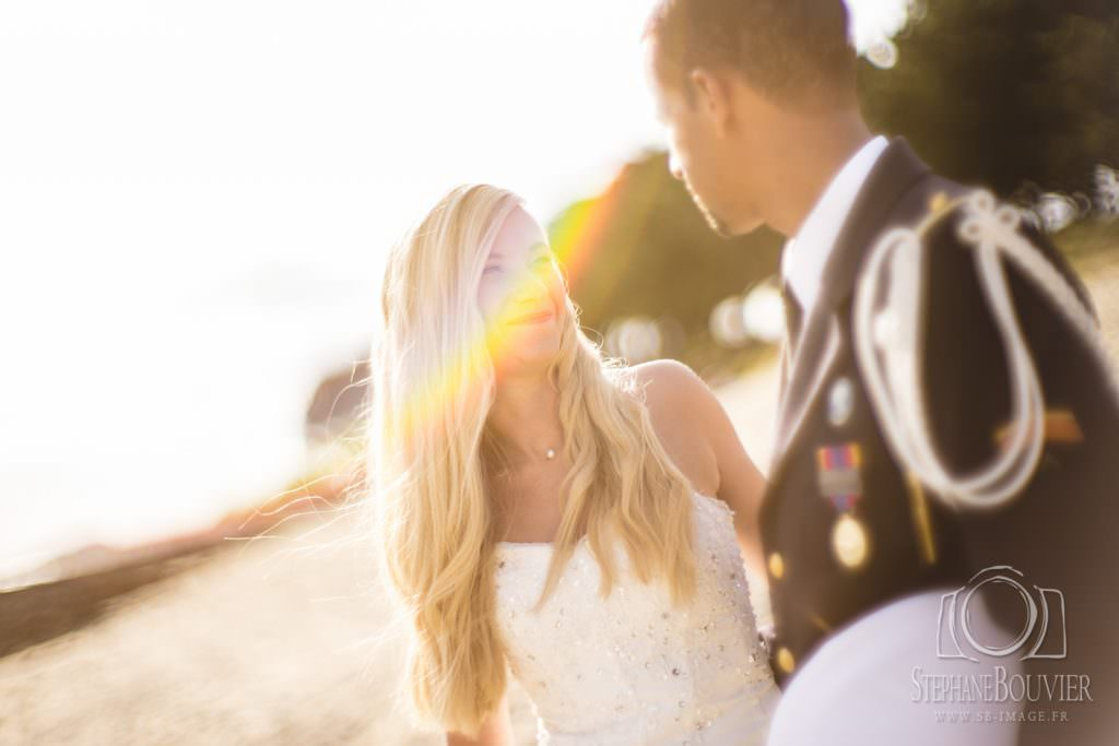 Mariage, photo de couple, flare